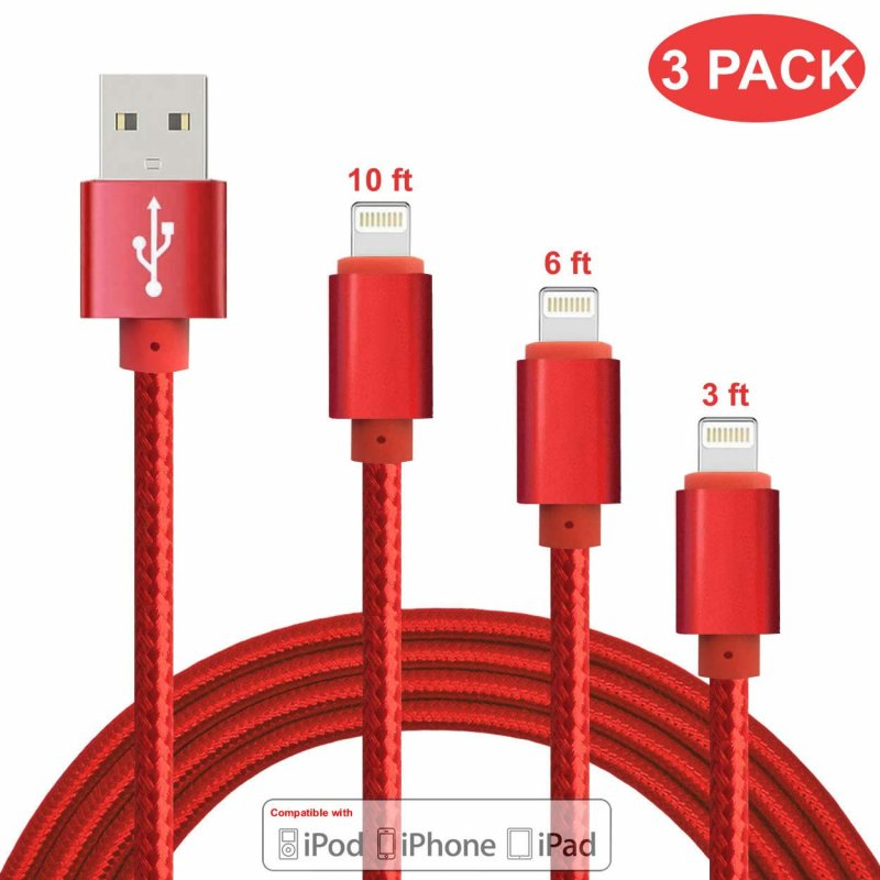ZHONGXING Phone Charger Cable 3 Pack(3 Feet 6 Ft 10 Foot) Nylon Braided Cord USB Fast Charging Cables,Compatible for Phone 11 Pro Max/Phone Xs Max/XR/X/ 6/6s Plus/7/7Plus/i8 Plus Air Pod - Lucky Red