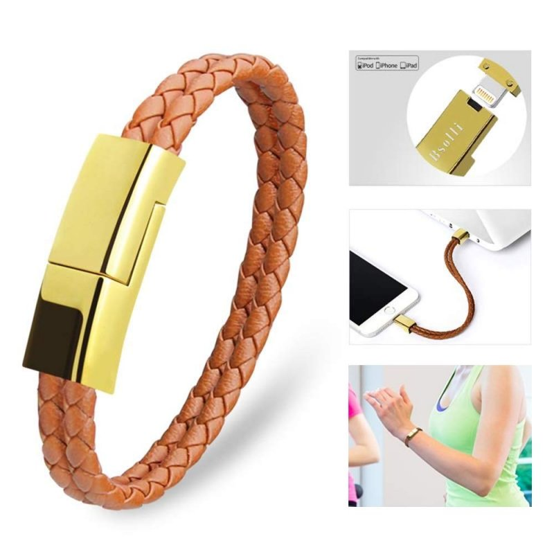 Dzzkoye USB Charging Cable Bracelet Portable Leather Charger Cord for iPhone iPad, iPod, Air Pods (Brown L)