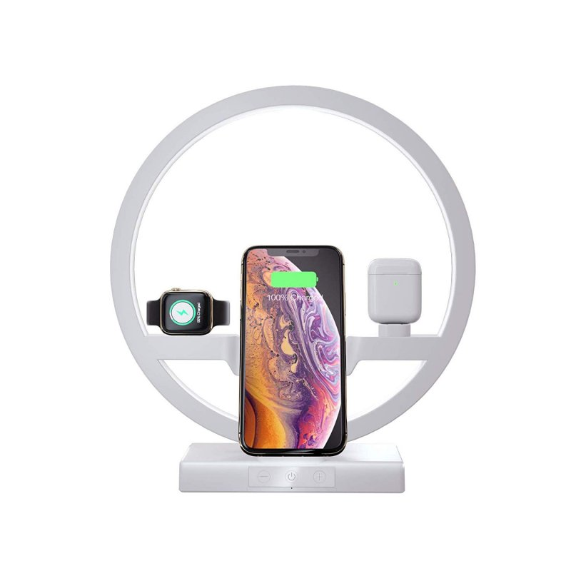 Akiimy Mulfuntional Bedside Wireless Charger Stand 10W Fast Charger Dock with Bedside Led Lamp for Phone 11 Pro Max/Apple Watch and Air-pods/Samsung and All Qi Devices (White)