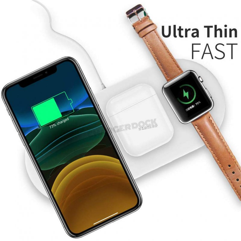 Comecall 3 in 1 Qi Wireless ChargerPad/Multiple Devices Wireless Charger Dock for Air Pods/Apple Watch Series 4/3/2/1 and iPhone 11/11 Pro/11 Pro Max/XR/X/8 Galaxy Note10/9