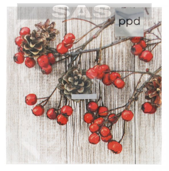 Անձեռոցիկ «ppd Always Creative Red Berries on Wood»